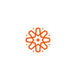 flower linear logo orange line art sun vector image