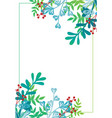 frame leaves and berries on a white background vector image
