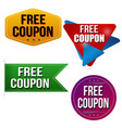 free coupon sticker or label set vector image