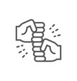 friendly gestures joyous punches line icon vector image