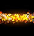 golden bokeh lights on black background vector image vector image