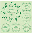 green floral frames with clover for patrick day vector image