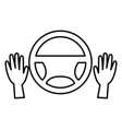 hands driver with steering wheel vector image vector image