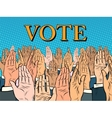 Hands up voting for the candidate vector image