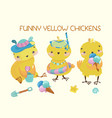 happy cute baby chickens vector image