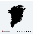 High detailed map of Greenland with navigation vector image