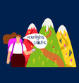hiking background mountains and girl vector image vector image
