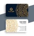 mandala style premium business card template vector image vector image