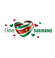 national flag suriname in shape vector image vector image