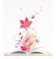 open book and pink flower vector image vector image