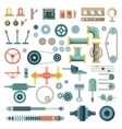 Parts of machinery flat icons set vector image