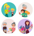 people exchange presents on holiday collection vector image vector image