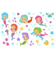 pretty swimming mermaids with underwater elements vector image