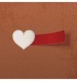 Realistic Valentines Day white Heart and red Tag vector image