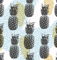 Retro 80s summer seamless pattern with pineapple vector image