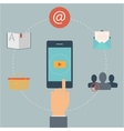 set flat design web icons for mobile phone vector image vector image