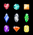 set gemstones different colors jewels for vector image