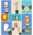 Set of business hands action concepts vector image vector image