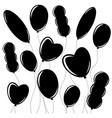 set of flat isolated black silhouettes of vector image vector image
