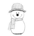 Snowman icon in doodle sketch lines Snow winter vector image vector image