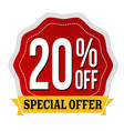 special offer 20 off label or sticker vector image vector image