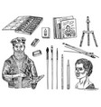 tools and materials artist for drawing in vector image vector image