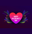trendy happy valentines day with plants and vector image vector image