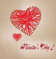Valentine day knitting wool heart vector image vector image