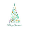 vintage merry christmas greeting card vector image