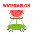 watermelon car and creative text vector image