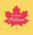 welcome autumn hand lettering vector image vector image