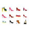 woman shoes icon set flat style vector image