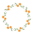 wreath of leaves oranges and orange blossoms on vector image vector image