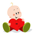 baby with heart pillow vector image