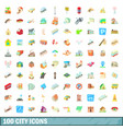 100 city icons set cartoon style vector image vector image