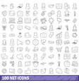 100 net icons set outline style vector image vector image