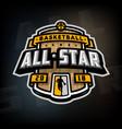 all stars basketball logo emblem vector image vector image