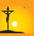 banner with jesus christ crucified on cross vector image vector image