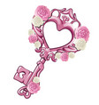 beautiful vintage key in the shape of a pink heart vector image