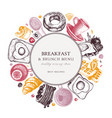 breakfast table wreath in color morning food and vector image vector image