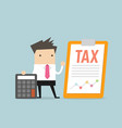 businessman standing with tax document vector image vector image