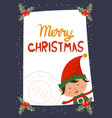 cartoon for holiday theme with elf on winter vector image vector image