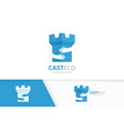 castle and hands logo combination tower vector image vector image
