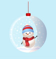 christmas toy snow ball with snowman inside vector image vector image