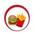 circular emblem with hamburguer and potatoes fries vector image