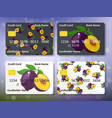 design for credit card with plum vector image vector image