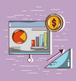 document business with statistics and coin vector image vector image