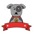 dog pet portrait with collar emblem vector image