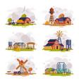 farm scenes set autumn rural landscape vector image