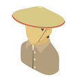 farmer man asian icon isometric 3d style vector image